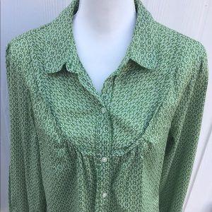 Vintage Green/White floral blouse/Shirt